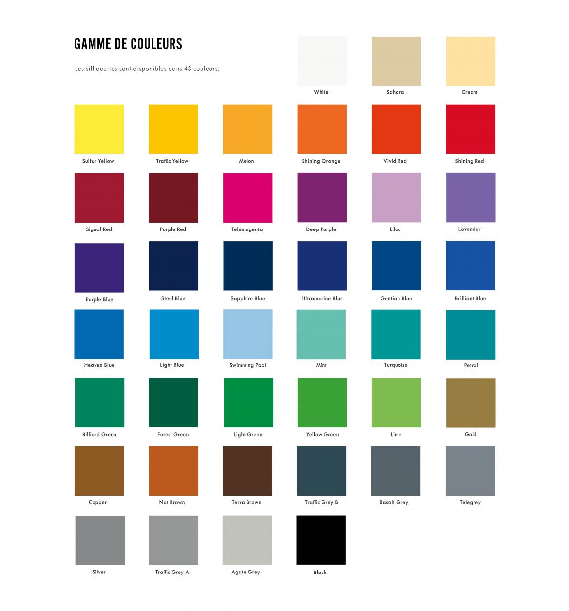 Les autocollants silhouette sont fabriqués en vinyle et disponibles dans 43 couleurs.