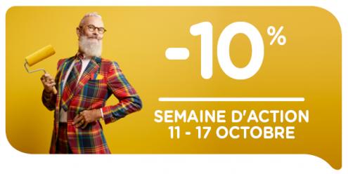 Profitez maintenant de 10 % de réduction pendant la semaine d'action du 11/10 j.au 17/10