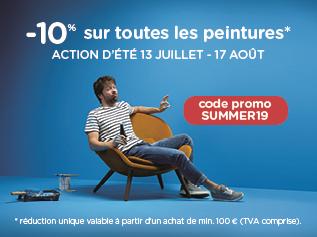 Action de réduction unique de 10% sur toutes les peintures de 13/7 au 17/8 à l'achat de min. € 100