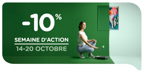 Profitez durant la semaine d'action de 14 au 20 octobre inclus de -10% sur la totalité de l'assortiment