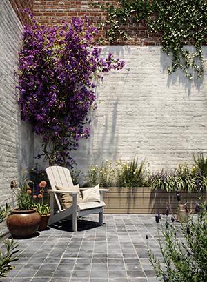 transformation mur de jardin badigeon blanc