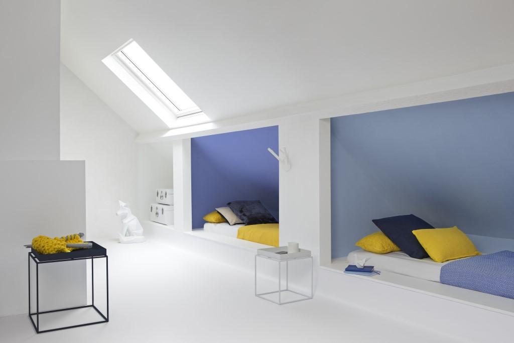 Grand Peignez Votre Chambre Bleu Et Blanc