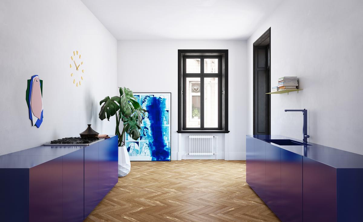 Peignez les armoires de votre cuisine en bleu vive