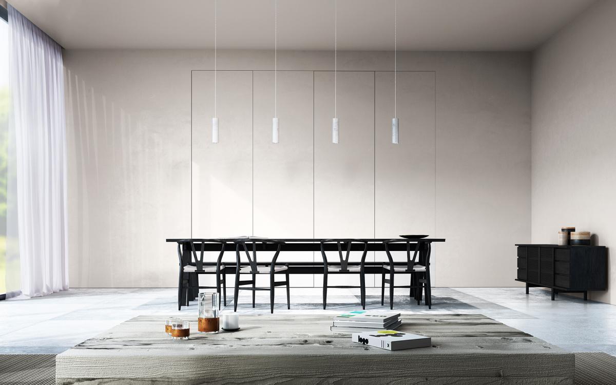 Zen minimaliste dans le salon avec une palette de couleurs équilibrée
