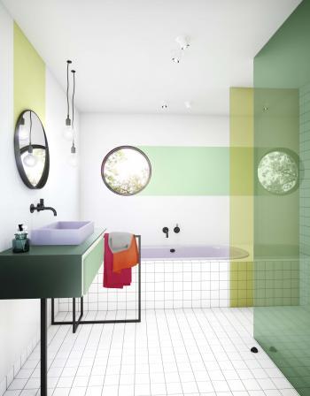 Optez pour une salle de bain neutre aux accents colorés