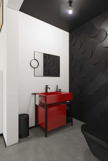 Créez un cadre éminemment tendance et combinez le noir et blanc avec le rouge foncé