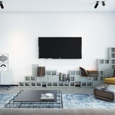 Combinez le bleu acier avec le noir et le blanc pour un contraste de couleurs saisissant dans le salon
