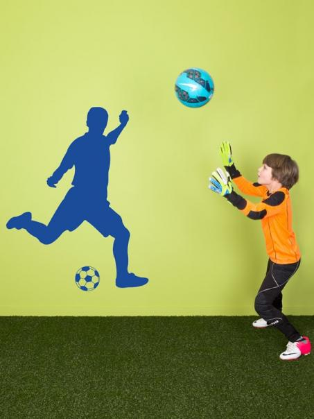 Autocollant mur footballeur