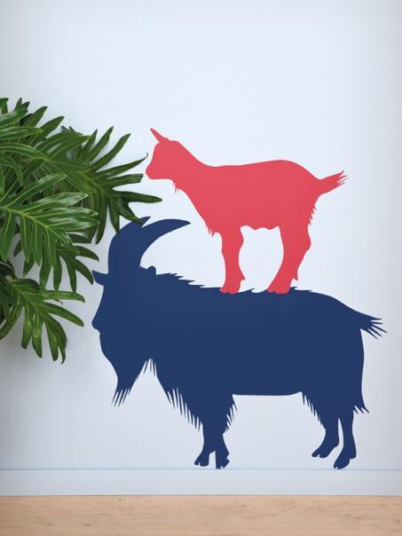 Autocollant mur chèvre et capricorne
