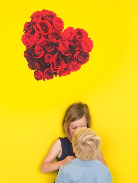 Autocollant coeur de roses