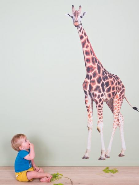 Autocollant mur girafe