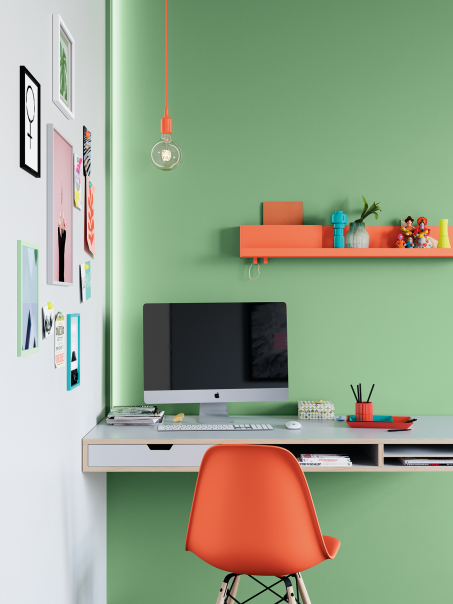 Créez un coin bureau inspirant avec des couleurs douces et qui tranchent