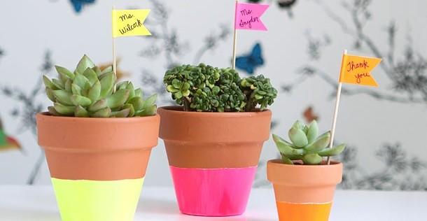 Peindre des pots de fleurs, pour un intérieur coloré