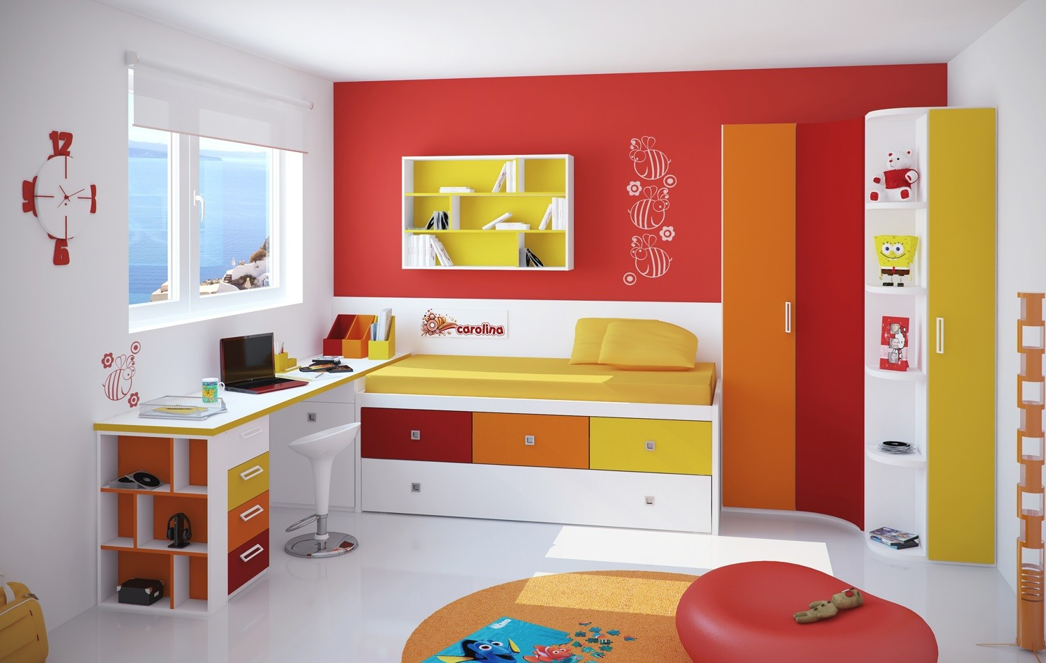blog des couleurs fraiches et gaies dans une chambre d. Black Bedroom Furniture Sets. Home Design Ideas