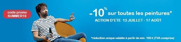 Profitez du 13 juillet au 17 août de 10% de réduction unique sur les peintures