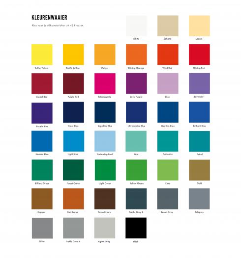 Bij een silhouetsticker kan je kiezen tussen 43 vinylkleuren