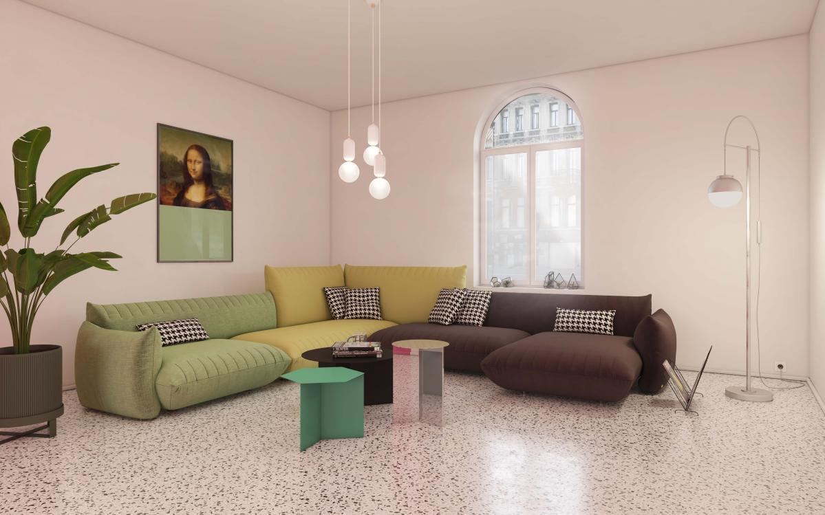 Combineer neutrale verfkleuren met kleurrijke meubels in de woonkamer