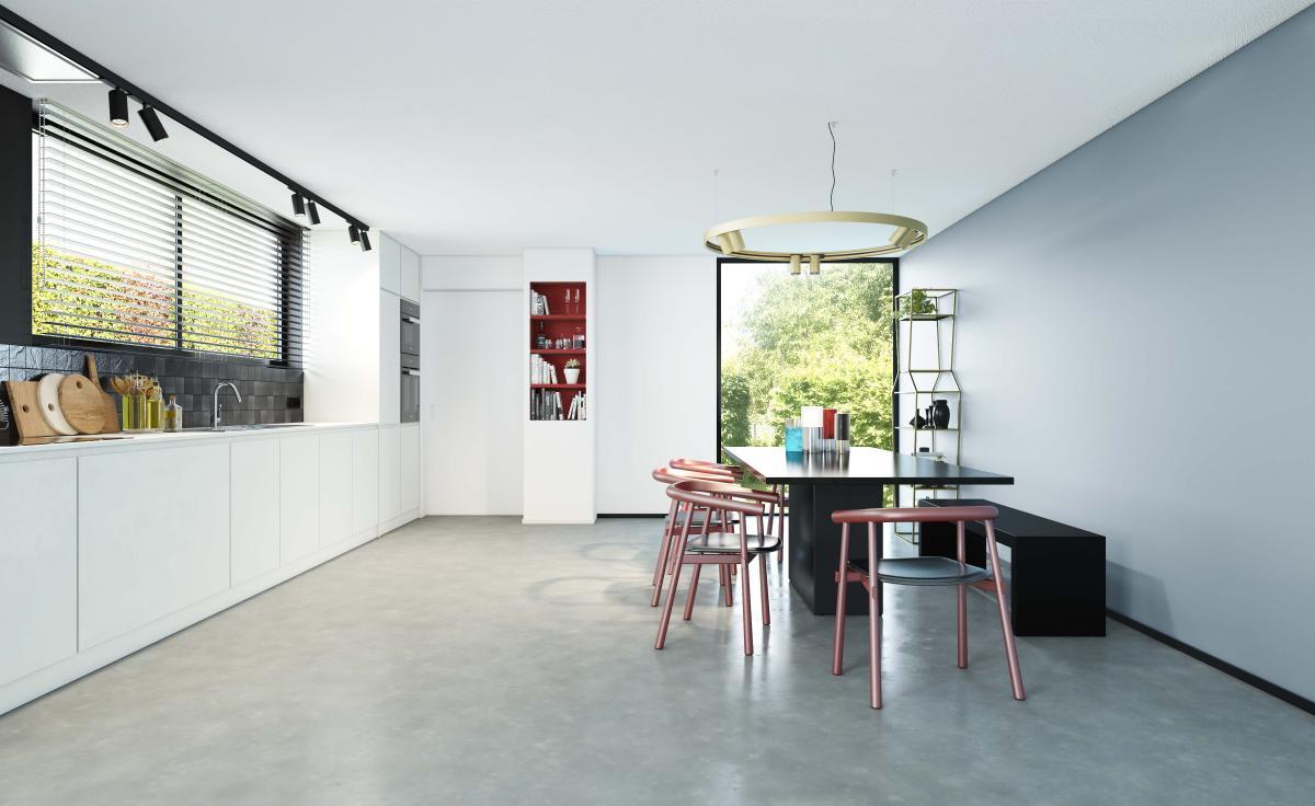 Combineer een zwart-wit contrast met een accentmuur in staalblauw in de keuken