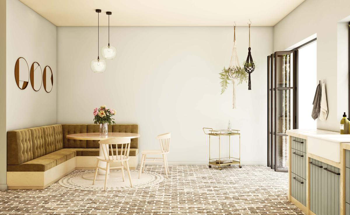 Combineer natuurlijke verfkleuren in de keuken met tijdloze meubels
