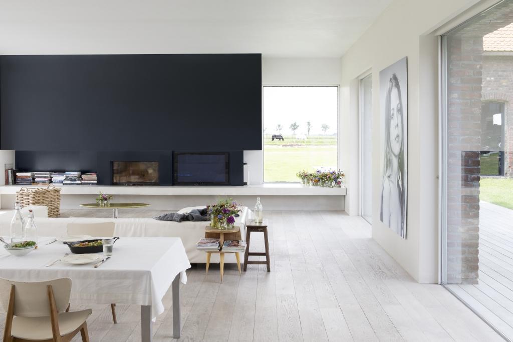 Leefruimte in wit en donkerblauw schilderen