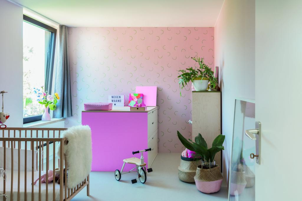Behang Voor Kinderkamer : Behang je kinderkamer roze colora be