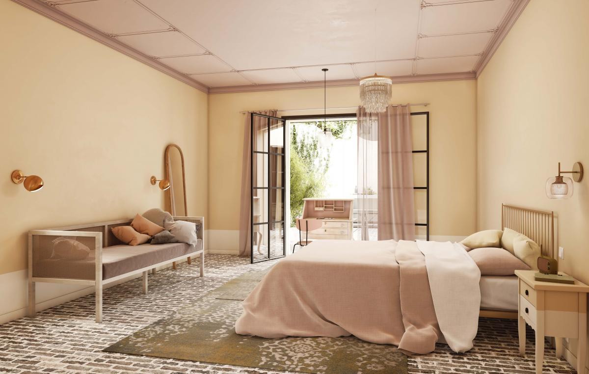 Gebruik natuurlijke verfkleuren in de slaapkamer en breng rust binnen