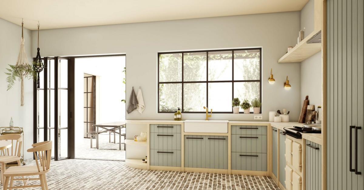 Maak de keuken en binnenkoer één harmonieus geheel met natuurlijke verfkleuren