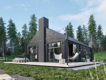 Geborgen zwart gebeitst hout voor deze vakantiewoning midden in de natuur