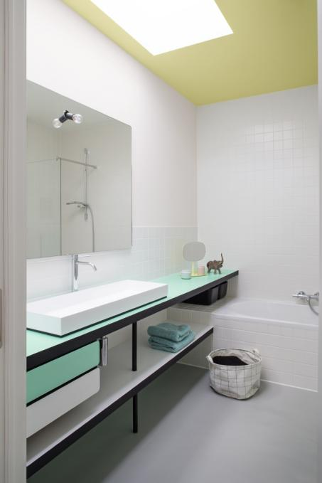 Je badkamer schilderen in wit, geel en groen