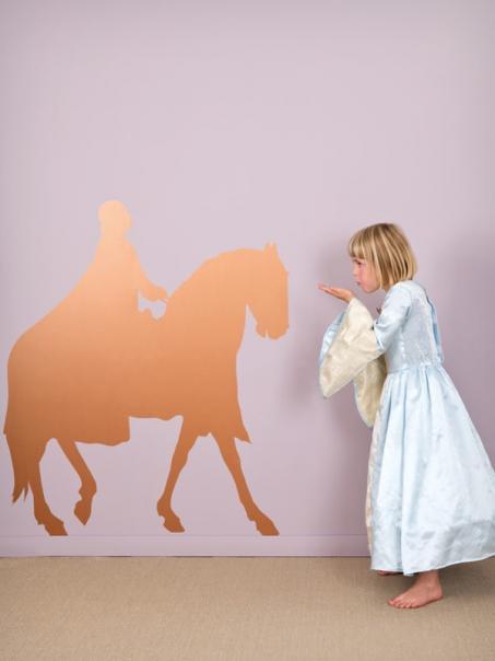 Muursticker ridder te paard