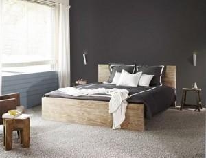 Zwarte Slaapkamer Muur : Bruine muur slaapkamer